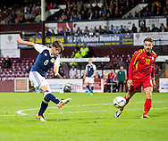 Scotland's Ryan Gauld shoots during Scotland Under-21 v FYR Macedonia,  UEFA Under 21 championship qualifier  at Tynecastle, Edinburgh. Photo: David Young<br /> <br />  - &copy; David Young - www.davidyoungphoto.co.uk - email: davidyoungphoto@gmail.com