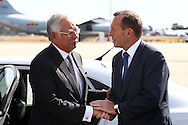 PERTH, AUSTRALIA - APRIL 03:  Australian Prime Minister Tony Abbott (R) farewells Malaysian Prime Minister Najib Razak after his visit to Perth during the search of missing Malaysia Airlines flight MH370 at Perth International airport on April 3, 2014 in Perth, Australia. The search continues off the Western Australian coast for Malaysia Airlines flight MH370 that vanished on March 8 with 239 passengers and crew on board. The flight is suspected to have crashed into the southern Indian Ocean with no survivors.  (Photo by Paul Kane/Getty Images) *** Local Caption *** Tony Abbott; Najib Razak