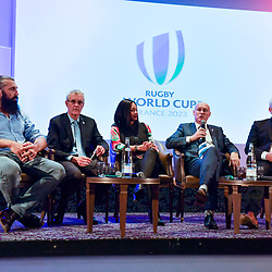 Sebastien Chabal, president of GIP Jacques Rivoal, sports minister Laura Flessel, president of French Rugby Federation Bernard Laporte and general director of GIP Claude Atcher during the press conference World Cup Rugby 2023 on May 15, 2018 in Paris, France. (Photo by Aude Alcover/Icon Sport)