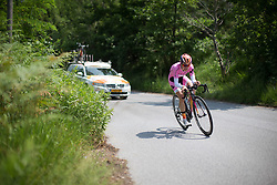 Megan Guarnier (USA) of Boels-Dolmans Cycling Team starts the descent during the Giro Rosa 2016 - Stage 7. A 21.9 km individual time trial from Albisola to Varazze, Italy on July 8th 2016.
