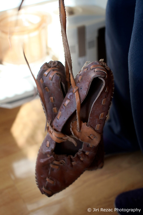 CZECH REPUBLIC MORAVIA BANOV 2APR18 - Detail photo of traditional leather sandals worn during Easter celebrations with folklore musicians as  they wander on their round through the village of Banov, Moravia. <br /> <br /> jre/Photo by Jiri Rezac<br /> <br /> © Jiri Rezac 2017