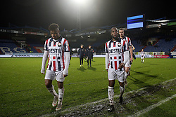 (L-R), Diego Palacios of Willem II, Vurnon Anita of Willem II, Thomas Meissner of Willem II during the Dutch Eredivisie match between Willem II Tilburg and sc Heerenveen at Koning Willem II stadium on December 08, 2018 in Tilburg, The Netherlands