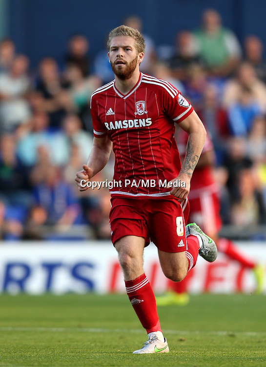 "Middlesbrough's Adam Clayton during the Capital One Cup, First Round match at Boundary Park, Oldham. PRESS ASSOCIATION Photo. Picture date: Wednesday August 12, 2015. See PA story SOCCER Oldham. Photo credit should read: Simon Cooper/PA Wire. EDITORIAL USE ONLY. No use with unauthorised audio, video, data, fixture lists, club/league logos or ""live"" services. Online in-match use limited to 45 images, no video emulation. No use in betting, games or single club/league/player publications."