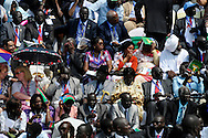 VIPs and foreign guests waited under a swealtering sun for the arrival of all the dignitaries at the official independence day ceremony. After decades of conflict, Southern Sudan declared independence from the North on July 9th, 2011. Government officials, foreign dignitaries and ordinary people came to the John Garang Memorial in the capital from all over the country and the world to celebrate the historic occation..Juba, South Sudan. 09/07/2011..Photo © J.B. Russell