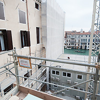 A general view toward the Grand Canal from Palazzo Papadopoli.Several major restoration works are being carried out in this period in Venice, the go to a complete refurbishment of the famous Gritti Palace Hotel, to transformation into a luxury VIP 7 stars hotel of XV century Palazzo Papadopoli to the restoration of the Church of the Gesuiti