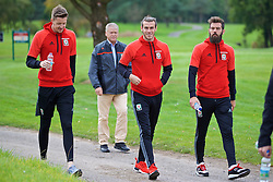 CARDIFF, WALES - Friday, October 7, 2016: Wales' goalkeeper Wayne Hennessey, Gareth Bale and Joe Ledley during a team walk at the Vale Resort ahead of the 2018 FIFA World Cup Qualifying Group D match against Georgia. (Pic by David Rawcliffe/Propaganda)