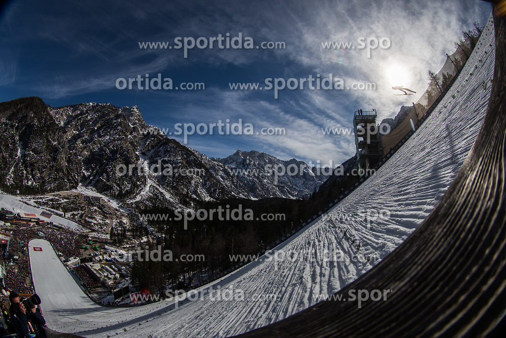 Ski jumper soaring throug the air during 1st round of the Ski Flying Hill Individual Competition at Day 2 of FIS Ski Jumping World Cup Final 2019, on March 22, 2019 in Planica, Slovenia. Photo Peter Podobnik / Sportida