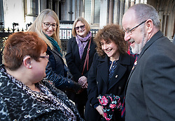 © Licensed to London News Pictures. 18/12/2019. London, UK. Relatives and survivors of the 1982 IRA Hyde Park Bomb (L-R) SarahJane Young, Lorriane Nutt, Marion Bright, Louise Tipper and Vincenzo Latino at The High Court where they and other family members have won a ruling in a civil case against convicted IRA member John Downey. The court has ruled that John Downey was an active participant in the bombing.  The Hyde Park bombing in July 1982 killed Squadron Quartermaster Corporal Roy Bright, Lieutenant Anthony Daly, Lance Corporal Jeffrey Young and Trooper Simon Tipper. Photo credit: Peter Macdiarmid/LNP