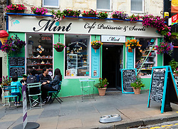 Exterior view of Mint Cafe Patisserie and Sweet shop in central Stirling, Scotland, UK