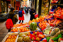 Fruit and vegetable stall in the Via Drapperie, Bologna, Italy<br /> <br /> (c) Andrew Wilson | Edinburgh Elite media