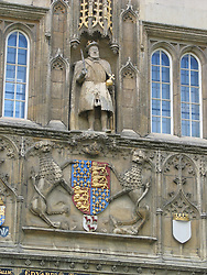 Detailed view of crest on King's College Chapel, University of Cambridge, Cambridge, England