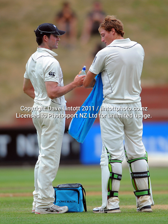 Hamish Ellison brings drinks out to NZ batsman Martin Guptill after Kane Williamson's dismissal. 2nd cricket test match - New Zealand Black Caps v Pakistan, day four at the Basin Reserve, Wellington, New Zealand on Tuesday, 18 January 2011. Photo: Dave Lintott / photosport.co.nz