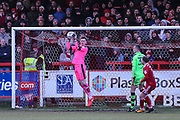 Forest Green Rovers goalkeeper Bradley Collins(1) claims the ball during the EFL Sky Bet League 2 match between Accrington Stanley and Forest Green Rovers at the Wham Stadium, Accrington, England on 17 March 2018. Picture by Shane Healey.