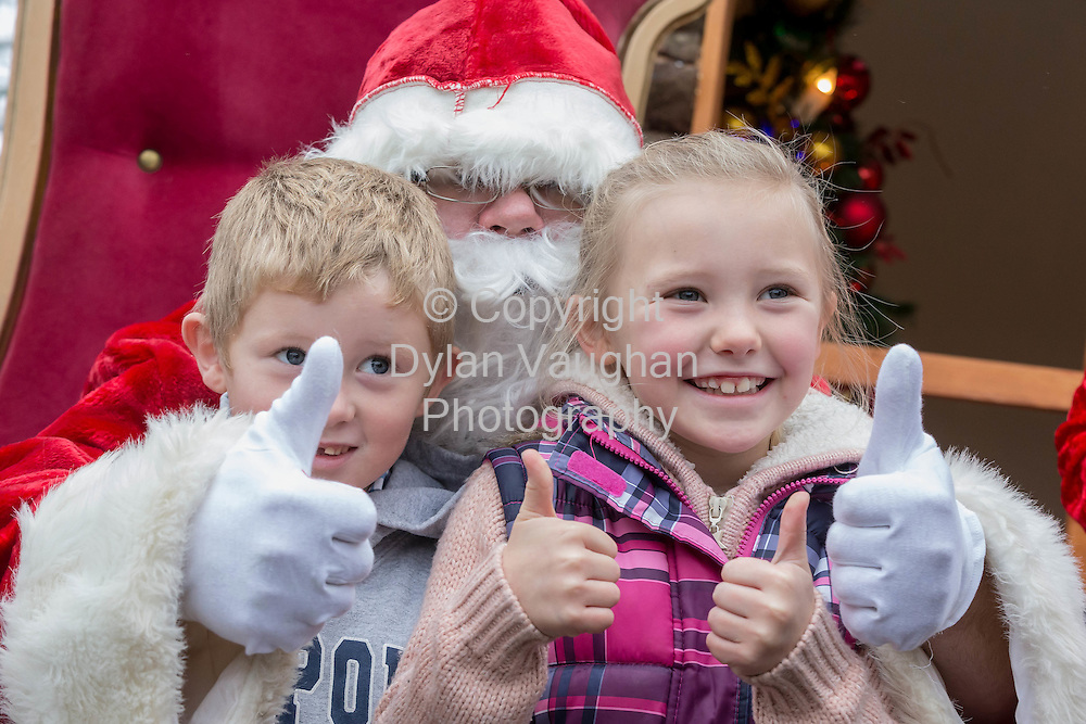 Repro Free no charge for repro<br /> 29-11-14<br /> Martin (5) and Michaela (7) Earl from Leighlinbridge Co. Carlow pictured with Santa Claus at the Arboretum &quot; Your Home and Garden Heaven&quot; in Carlow over the weekend.<br /> <br /> <br />  Picture Dylan Vaughan.