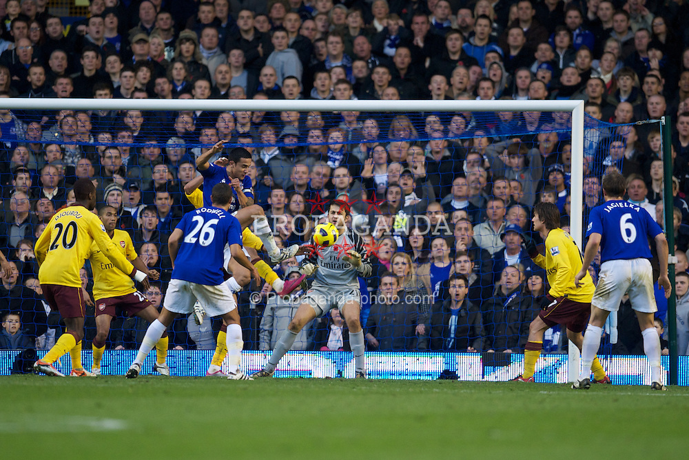 LIVERPOOL, ENGLAND - Sunday, November 14, 2010: Everton's Tim Cahill scores a goal against Arsenal during the Premiership match at Goodison Park. (Photo by: David Rawcliffe/Propaganda)