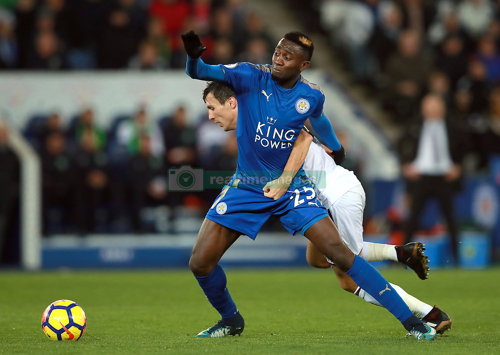 "Leicester City's Onyinye Ndidi (front) and Burnley's Jack Cork during the Premier League match at the King Power Stadium, Leicester. PRESS ASSOCIATION Photo Picture date: Saturday December 2, 2017. See PA story SOCCER Leicester. Photo credit should read: Mike Egerton/PA Wire. RESTRICTIONS: EDITORIAL USE ONLY No use with unauthorised audio, video, data, fixture lists, club/league logos or ""live"" services. Online in-match use limited to 75 images, no video emulation. No use in betting, games or single club/league/player publications."