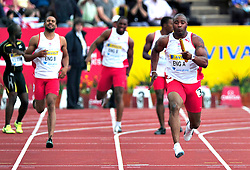 Great Britain'sMark Lewis-Francis competes in the men's 4x400m final, during the Samsung Diamond League meeting at Crystal Palace in London on August 14, 2010.