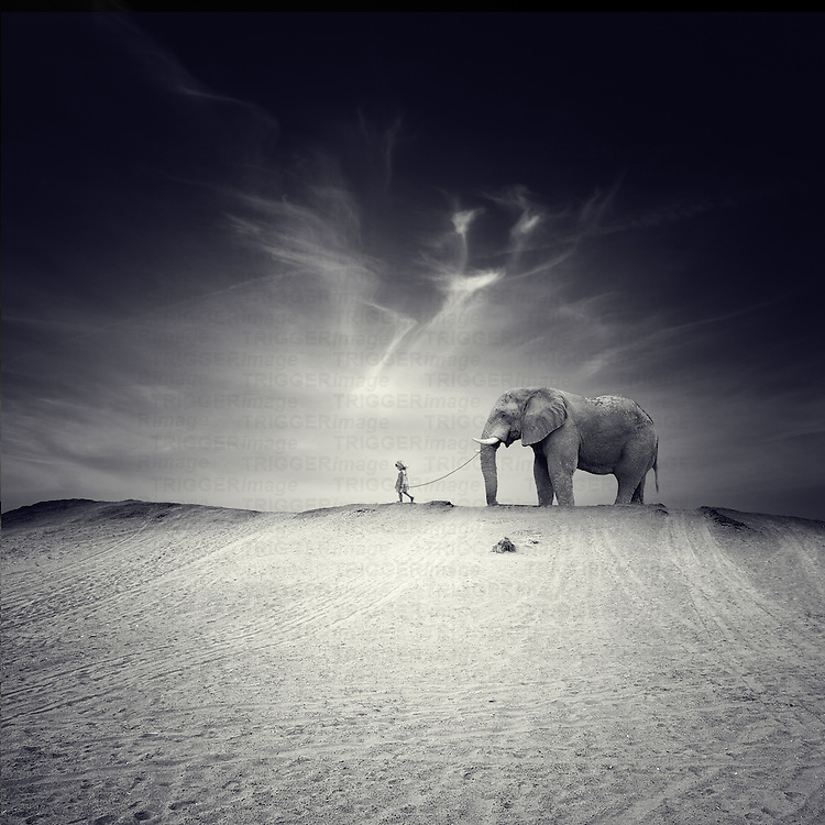 A little girl walking towards in a desert with an elephant