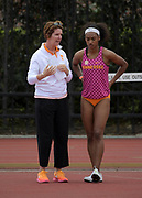 Mar 24, 2018; Los Angeles, CA, USA; Beth Alford-Sullivan of Tennessee (left) talks with Domonique Turner during the women's high jump at the Power 5 Trailblazer challenge at Cromwell Field.