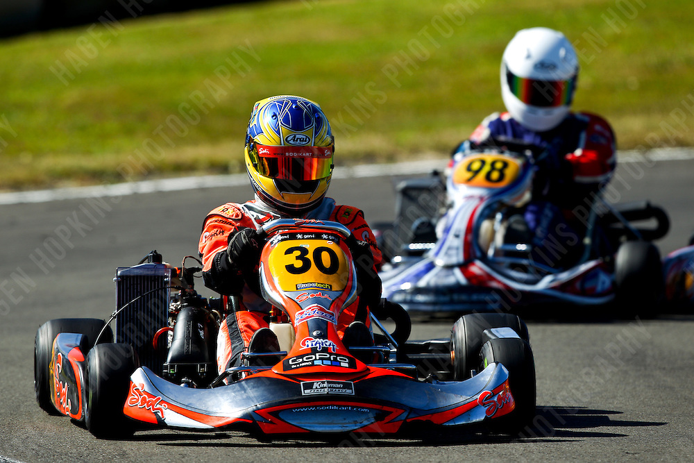 Mathew Kinsman, 30, James Penrose, 98, 2012 Twilight Trans-Tasman Challenge at Manawatu Kart Club in Palmerston North, New Zealand on Saturday, 18 January 2012. Credit: Hagen Hopkins.