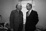 Riobard Mac Góráin of Gael Linn and Seán Ó Riada planning a Peadar Ó Doirnín Commemoration Concert at the Gaiety Theatre..24.03.1969