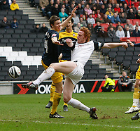 Photo: Steve Bond/Richard Lane Photography. MK Dons v Southampton. Coca-Cola Football League One. 20/03/2010. Dean Lewington blast over from close range