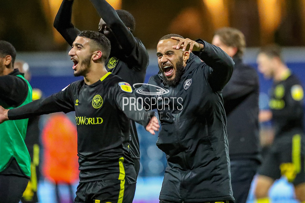 Brentford forward Bryan Mbuemo (19) and Brentford forward Saïd Benrahma (10) celebrate at full time during the EFL Sky Bet Championship match between Queens Park Rangers and Brentford at the Kiyan Prince Foundation Stadium, London, England on 28 October 2019.