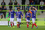 Exeter City's Reuben Reid(33) scores a goal 0-3 and celebrates during the EFL Sky Bet League 2 match between Forest Green Rovers and Exeter City at the New Lawn, Forest Green, United Kingdom on 9 September 2017. Photo by Shane Healey.