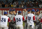 (Left to right) Colton Plaia (LMU), Michael Lorenzen (Cal State Fullerton), Kris Bryant (USD), Marco, Michael Conforto (Oregon State), exchanging gifts before a game in Cuba