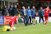 Accrington Stanley Manager John Coleman reacts to the foul by Accrington Stanley defender Ross Sykes (15) on Burton Albion Reece Hutchinson (19) during the EFL Sky Bet League 1 match between Accrington Stanley and Burton Albion at the Fraser Eagle Stadium, Accrington, England on 8 September 2018.