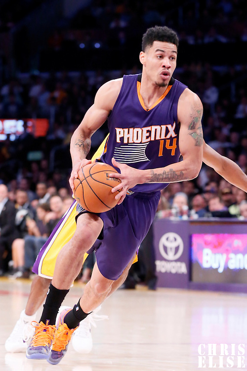 04 November 2014: Phoenix Suns guard Gerald Green (14) drives to the basket during the Phoenix Suns 112-106 victory over the Los Angeles Lakers, at the Staples Center, Los Angeles, California, USA.