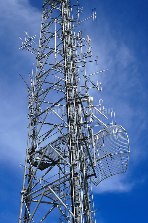 Microwave antenna and communications array for the cellular telephone system on a tower