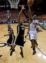 J.R. Reynolds (2) heads to the basket against Wake Forest.  Reynolds scored career high 40 points as the Virginia Cavaliers defeated the Wake Forest Demon Decons 88-76 at the John Paul Jones Arena in Charlottesville, VA on January 21, 2007.