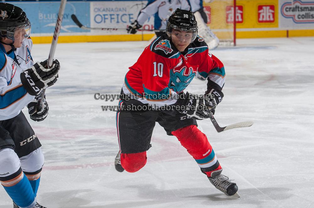 KELOWNA, CANADA - DECEMBER 7: Nick Merkley #10 of the Kelowna Rockets skates against the Kootenay Ice on December 7, 2013 at Prospera Place in Kelowna, British Columbia, Canada.   (Photo by Marissa Baecker/Shoot the Breeze)  ***  Local Caption  ***