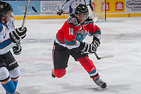 KELOWNA, CANADA - DECEMBER 7: Nick Merkley #10 of the Kelowna Rockets skates against the Kootenay Ice on December 7, 2013 at Prospera Place in Kelowna, British Columbia, Canada.   (Photo by Marissa Baecker/Shoot the Breeze)  ***  Local Caption  ***