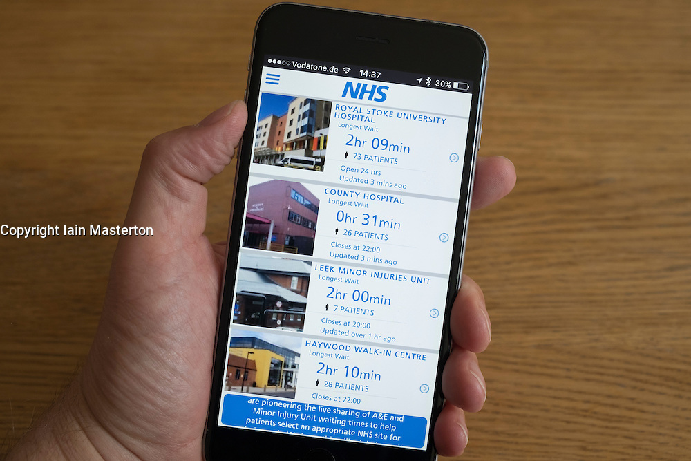NHS app for advising current outpatient waiting times at NHS hospitals on an iPhone smart phone
