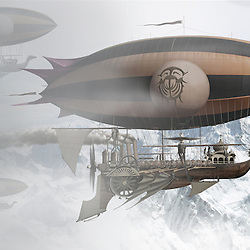 Concept illustration of a steam driven pirate airships emerging from cloud over a mountain range