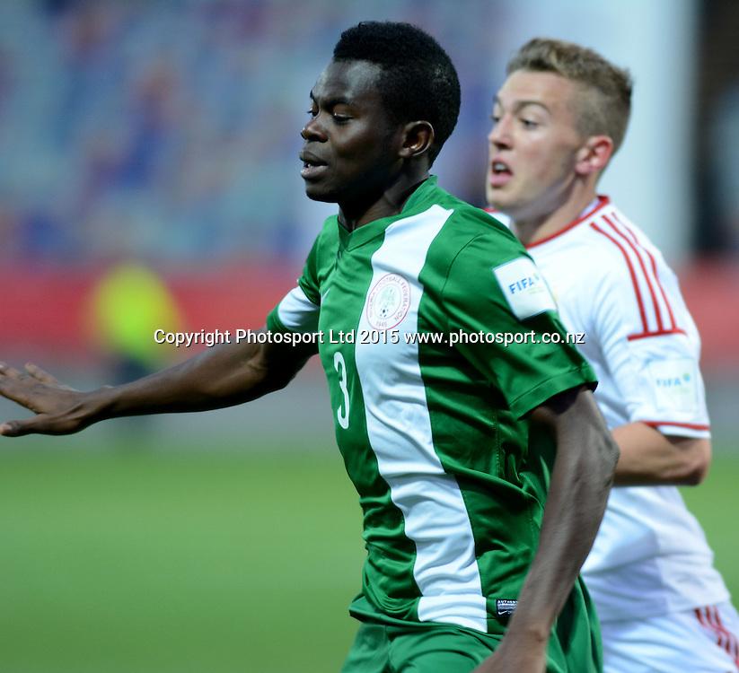 Nigeria's Abdullahi Mustapha FIFA U-20 World Cup New Zealand. Hungary vs Nigeria, played at Stadium Taranaki, New Plymouth NZ, Sunday 7th June 2015.  <br />  Photo John Velvin / ESPNZ