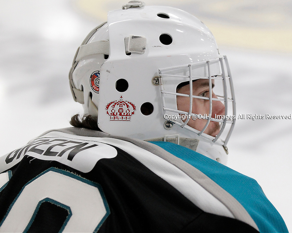 TRENTON, ON - Dec 1, 2015 : Ontario Junior Hockey League game action between Lindsay and Trenton, Sean Green #29 of the Lindsay Muskies during the pre-game warmup<br /> (Photo by Amy Deroche / OJHL Images)