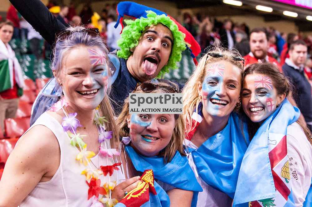 Fiji fans. Action from the Wales & Fiji game in Pool A of the 2015 Rugby World Cup at Milennium Stadium in Cardiff, 1 October 2015. (c) Paul J Roberts / Sportpix.org.uk