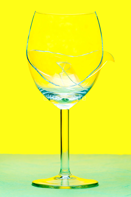 broken wine drinking glass