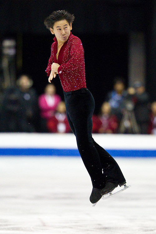 GJR436 -20111029- Mississauga, Ontario,Canada-  Denis Ten of Kazakhstanakhstan skates his free skate at Skate Canada International, in Mississauga, Ontario, October 29, 2011.<br /> AFP PHOTO/Geoff Robins