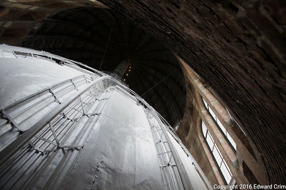 Looking up at the outside of the inner dome towards the spiral stair that leads to the top of the outer dome.