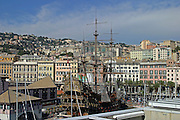 Italy, Genoa, Cityscape and the city harbour