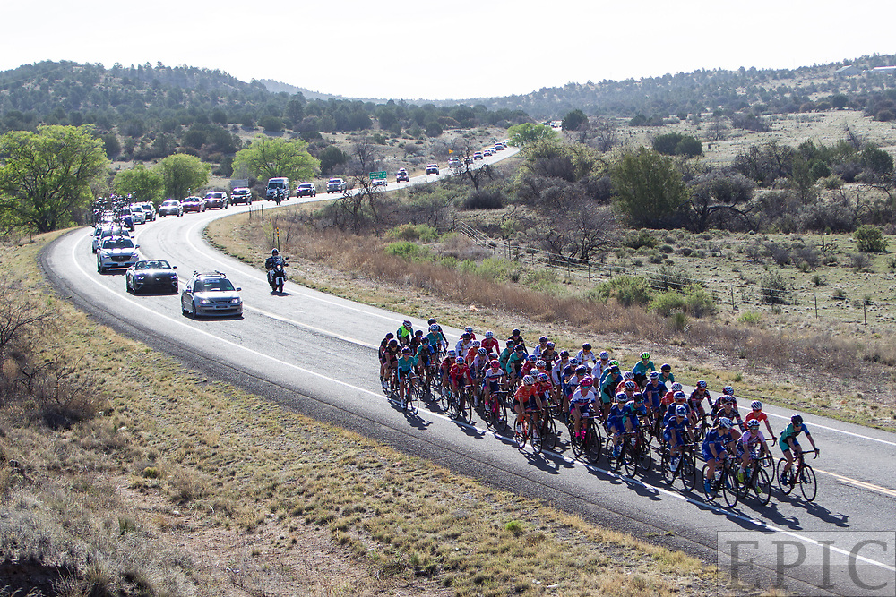 SILVERY CITY, NM - APRIL 18: The womens peloton during stage 1 of the Tour of The Gila on April 18, 2018 in Silver City, New Mexico. (Photo by Jonathan Devich/Epicimages.us)