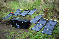 Goal Zero solar panels charging in steelhead fly fishing camp on the Deschutes River in eastern Oregon.