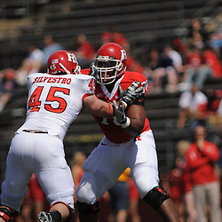 Apr 18, 2009; Piscataway, NJ, USA; Rutgers OL Kevin Haslam (78) blocks DE Alex Silvestro (45) during the first half of Rutgers' Scarlet and White spring football scrimmage.