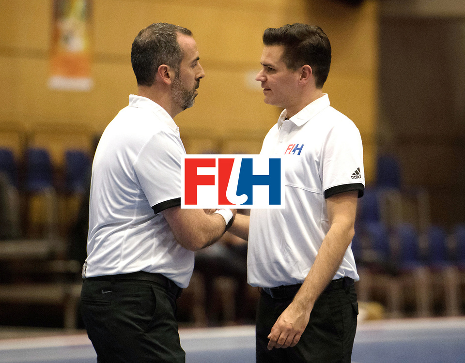 BERLIN - Indoor Hockey World Cup<br /> Kazachstan - Czech Republic<br /> foto: Umpire MARTINEZ Luis and Ben Goentgen<br /> WORLDSPORTPICS COPYRIGHT FRANK UIJLENBROEK