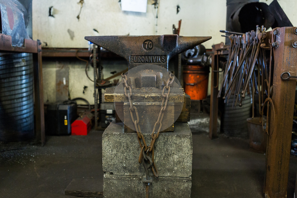 A blacksmith anvil at a iron working shop in Charleston, SC