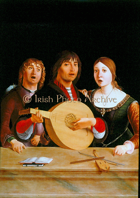 A Concert. Young man singing and playing a lute, flanked by a young man and woman, both singing.  Lorenzo Costa the Elder (1460-1535) Italian painter.